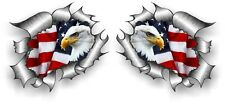 Small Pair STD RIP Ripped Torn Metal American Bald Eagle & US Flag car sticker