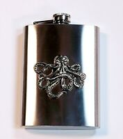 Silver Stainless Steel Octopus Flask Nautical Steampunk Drinkware Screw Top 8oz