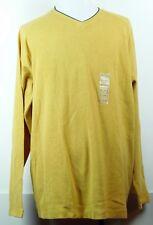 NEW NWT St. John's Bay Yellow Cotton Thermal Waffle V-Neck Pullover Shirt XL