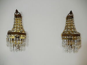 ~OLD 3 Tiers French Crystal Prisms Bronze Sconces Dark Empire Rare Beautiful~
