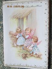 Vtg Unused 1950's Christmas card with Envelope~JOYOUS Baby Angels-Mid-century