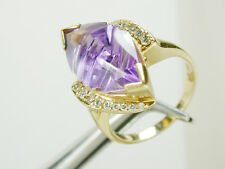 2912 Fancy AMETHYST MARQUISE & 0.36ct TW Diamond Ring 14K Solid Yellow Gold sz 8