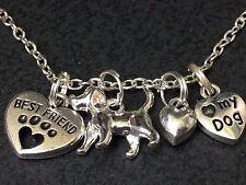 """Dog Dachshund Best Friend Heart Charm Tibetan Silver 18"""" Necklace"""