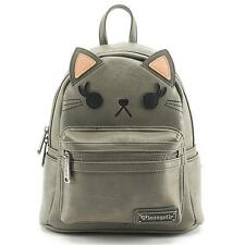 Loungefly Grey Cat Vegan Leather Mini Backpack Purse School Bag Kitty Face