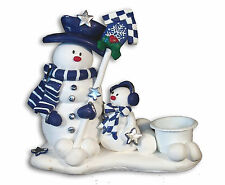 SNOWMAN Christmas Candle Stick Holder  Handmade Polymer Clay Figurine