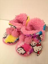 Brand New Hello Kitty Fluffy Animal Print Girls Booties (Pink Multi)