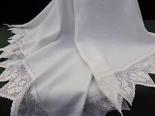 "Antique Irish Linen White Tablecloth~Hand Crochet Poppy Flowers~60"" / 153cm"