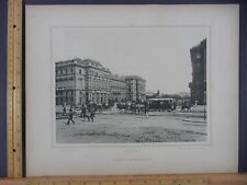 Rare Antique Original VTG Schwarzenberg Platz Plaza Vienna Engraving Art Print