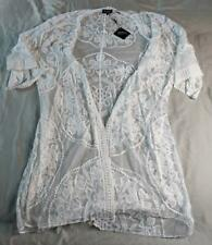Zaful Women's Sheer Lace Tie Front Kimono Cover Up DD5 White One Size NWT