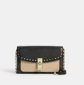 Brand New Coach Lane Crossbody In Signature Canvas With Rivets