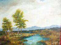 Bello, Vecchio Dipinto__Paesaggio Fluviale__Firmato : Deitl 1974_