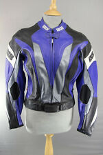 IXS BLACK, BLUE, SILVER & WHITE LEATHER BIKER JACKET + REMOVABLE CE ARMOUR 36 IN