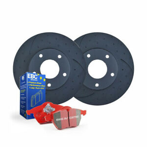 DIMPL SLOTTED FRONT BRAKE ROTORS + PADS for Volkswagen Touareg 7P 3.0TDi 2011-19