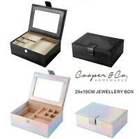 Large VINTAGE Jewellery & Watch Box Organiser Gift Travel Storage Case w Mirror