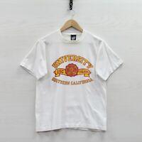Vintage USC Trojans 50/50 T-Shirt Size Medium White 90s NCAA