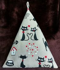 Bean bag cushion stand for iPad tablet book.Handmade.Black cats Hearts Valentine