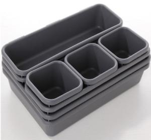 8x Interlocking Drawer Organziers Tray Makeup Storage Box Houseware Container