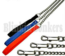 METAL CHAIN LINK DOG LEAD 4FT LONG STRONG PET PUPPY LEASH NYLON FABRIC HANDLE 5A