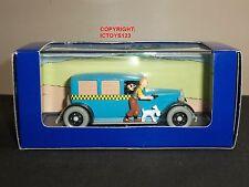 Tintin NO.4 en América Libro Comic Azul Taxi Checker Diecast Modelo Coche + Figura