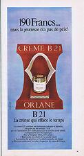 PUBLICITE ADVERTISING 064 1969 ORLANE  B21 crème qui efface le temps