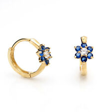 0.42tcw Created Sapphire Diamond Huggie Earrings 14K Yellow Gold Flower Cluster