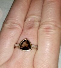 F Hinds 9 carat gold smoky quartz trillion cut ring with diamond accents size M