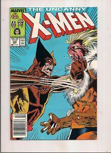 UNCANNY X-MEN #222 MARVEL COMICS 1987 WOLVERINE VS SABERTOOTH NEWSSTAND
