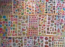 Childrens kids stickers- 9 sheets Fun, bright n puffy 4 TREATS PARTIES REWARDS