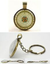 Vintage Compass - Antique Bronze Tone Photo Glass Dome Keyring