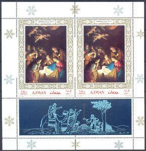 Ajman 1968 Christmas. Painting, s/sh. PERFOR. ERROR. RARE ! MNH