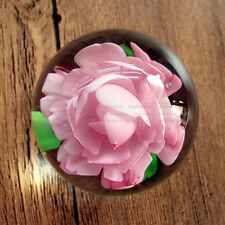 Handmade Peony Flower Marble Glass Paperweight Art Glass Ornament Birthday Gift