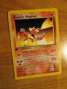 NM (1st edition) Pokemon BLAINE'S MAGMAR Card GYM HEROES Set 37/132 First Ed