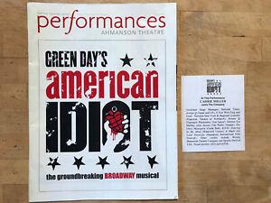 AMERICAN IDIOT April 2012 Broadway TOUR Program/ Playbill! AHMANSON Los Angeles