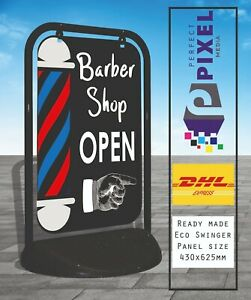 Barber Shop Open Eco Swinger Pavement A Board Sign Printed Both Sides