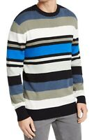 DKNY Mens Sweater Blue Size 2XL Crewneck Pullover Variegated Striped $79- #099