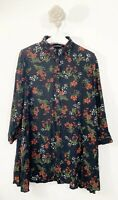 Zara Women Sz Large Red Black Floral Tunic Top Blouse 3/4 Sleeve Button