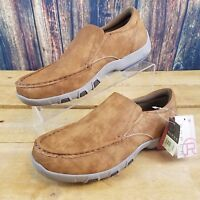 Roper Men's Reese Tan Faux Leather Slip On Driving Moc Shoes Size 11