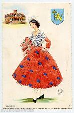 Carte postale brodée  .Costume et folklore . ARLESIENNE .ARLES  Bouches-du-Rhône