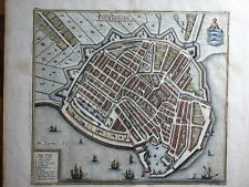 Enkhuizen 1641 Netherlands Enckhuysen ships coat of arms by Merian antique map