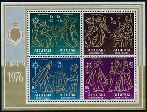 1976 AITUTAKI CHRISTMAS WITH SURCHARGES MINI SHEET FINE MINT MNH