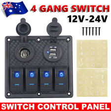 4 Gang 12V Switch Panel Dual USB Car Charge Toggle Rocker Marine Boat Waterproof