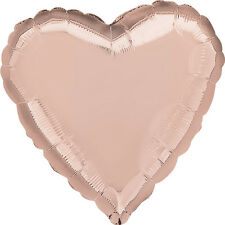 "18"" ROSE GOLD HEART Shape Helium Foil BALLOONS Wedding Baby Shower Birthday"