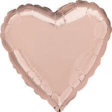 "18"" Solid Rose Gold Heart Shape Helium Foil Balloon Wedding Baby Shower Birthday"