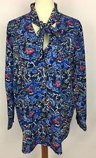 C. Wonder Blue Pussy Bow Tie Neck Floral Print Button Front Blouse Size 18W