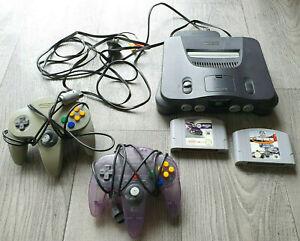 Nintendo 64 Console + Cords + 2 Controllers + Nascar 99 & F-1 World Gran Prix