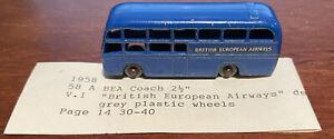 1958 MATCHBOX LESNEY REGULAR WHEELS #58A BRITISH EUROPEAN AIRWAYS BEA COACH