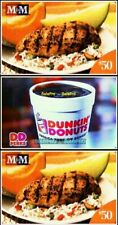 3x M & M MEAT SHOPS CATERING DUNKIN DONUTS CHICAGO USA COLLECTIBLE GIFT CARD LOT