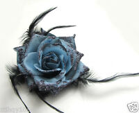 Rose Flower Feather Prom Wrist Corsage Hair Clip Fascinator Pin Brooch Pick