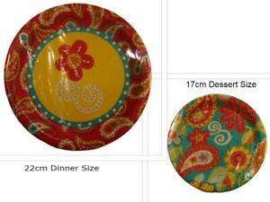 Floral Summer Paisley PAPER PLATES & CUPS SET Garden Party 24pcs