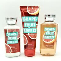 Bath and Body Works Grapefruit Breeze Body Cream, Lotion and Shower Gel Bundle